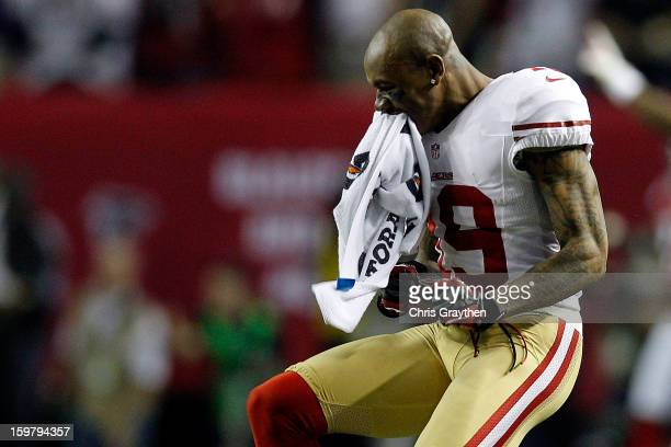 Ted Ginn of the San Francisco 49ers reacts after the 49ers defesnse stops the Atlanta Falcons on fourth down in the fourth quarter in the NFC...