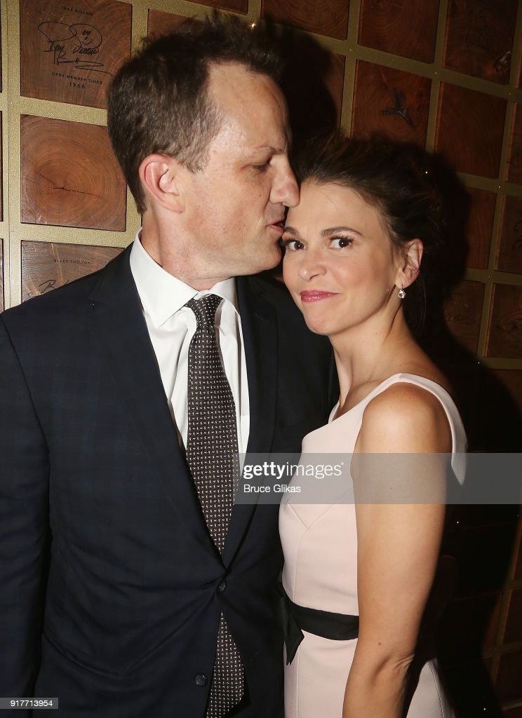 Ted Griffin and wife Sutton Foster pose at the 'Thoroughly Modern Millie' 15th Anniversary Reunion Concert After Party at Opry City Stage on February 12, 2018 in New York City.