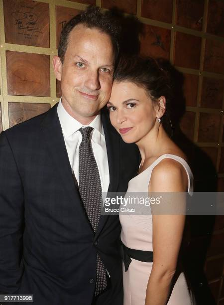 Ted Griffin and wife Sutton Foster pose at the 'Thoroughly Modern Millie' 15th Anniversary Reunion Concert After Party at Opry City Stage on February...