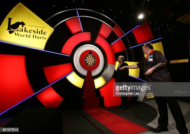 Ted Hankey of England in action as he beats Brian Woods of England during the Lakeside World Darts Championships 1st Round match at Lakeside on...