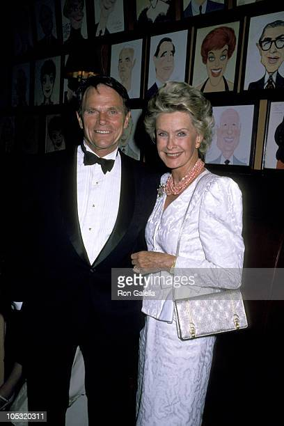 Ted Hartley and Dina Merrill during 1989 Player's Club Induction at Sardi's Restaurant in New York City, New York, United States.