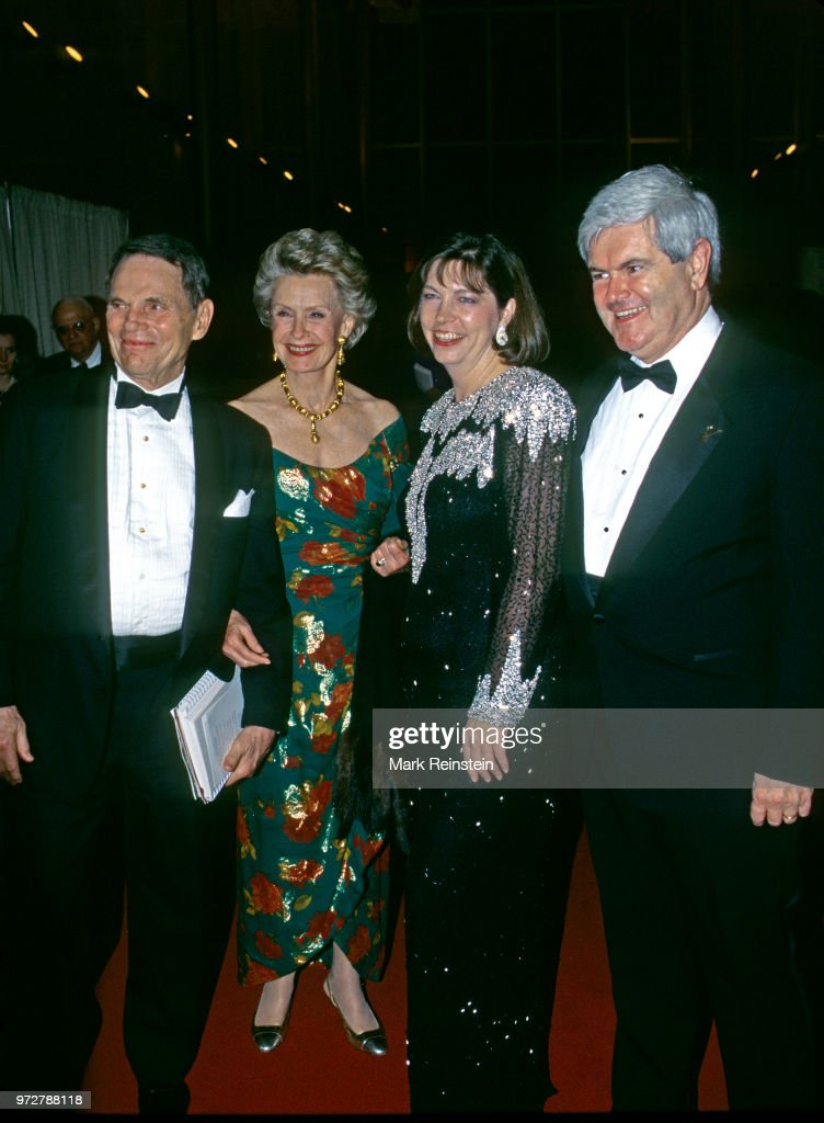 Ted Hartley, his wife Dina Merrill, Mary Anne Gingrich and Speaker of the House Newt Gingrich arrive at the John F. Kennedy Center For The Performing Arts to attend the annual Kennedy Center Honors program Washington DC, December 3, 1995.