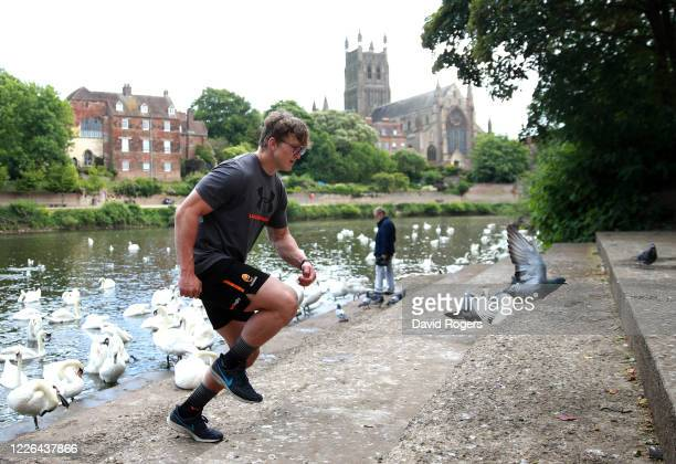 Ted Hill, the Worcester Warriors flank forward, works out on the banks of the River Severn on May 22, 2020 in Worcester, England. The coronavirus and...