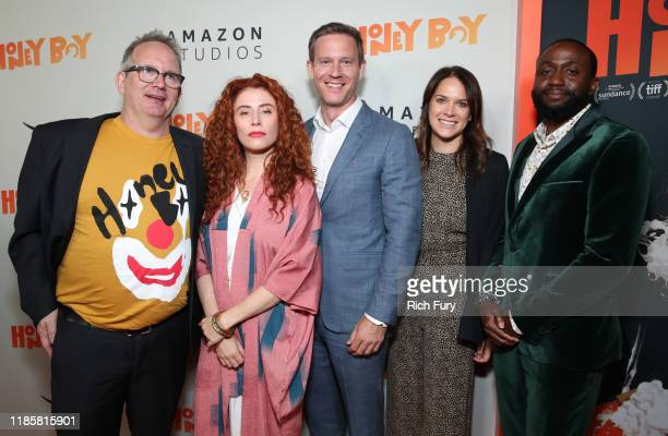 Ted Hope Alma Har'el Matt Newman Julie Rapaport and Byron Bowers attend the premiere of Amazon Studios Honey Boy at The Dome at Arclight Hollywood on...