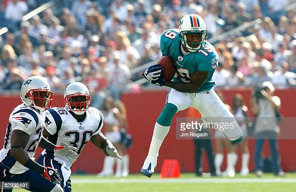 Ted Jr Ginn of the Miami Dolphins catches a pass despite the defense of Ellis Hobbs and James Sanders of the New England Patriots at Gillette Stadium...