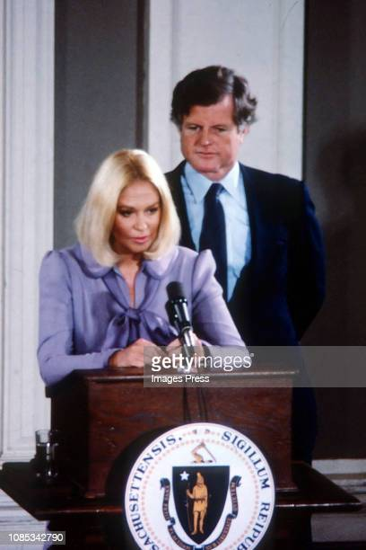 Ted Kennedy and Joan Kennedy during Ted Kennedy Announces His Candidacy For President at Faneuil Hall in Boston Massachusetts United States on...