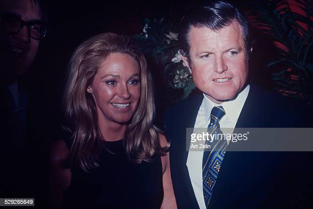 Ted Kennedy and Joan Kennedy in a crowd at and event circa 1970 New York