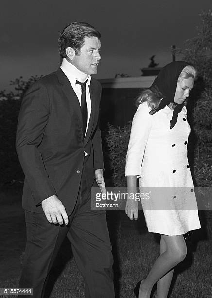 Ted Kennedy and wife Joan on their way to the funeral for Mary Jo Kopechne