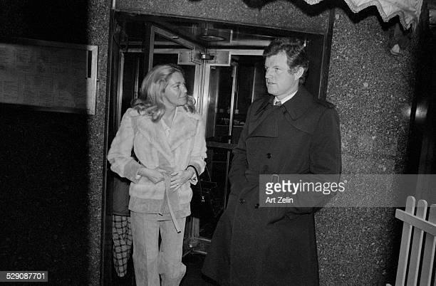 Ted Kennedy Joan Kennedy at Rockefeller Center circa 1970 New York