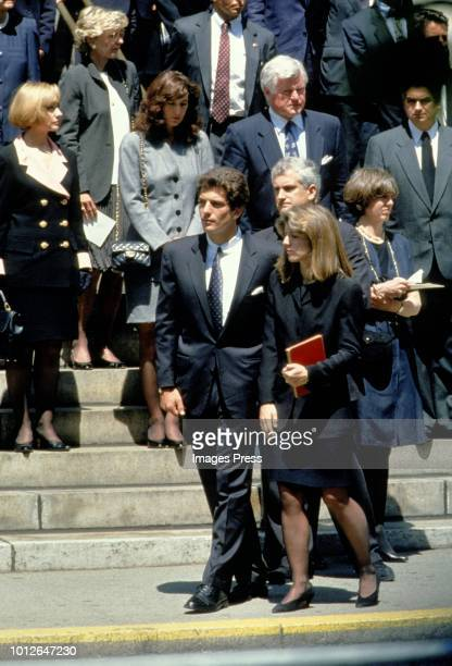 Ted Kennedy John Kennedy Jr and Caroline Kennedy at Jackie Onassis Funeral on May 231994 in New York