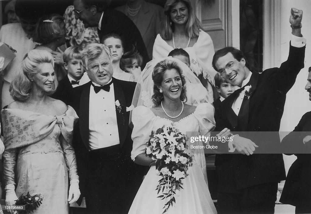 Kara kennedy and michael allen wedding pictures getty images ted kennedy stands with joan kennedy after kara kennedys wedding to michael allen junglespirit Gallery
