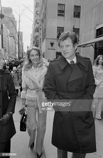 Ted Kennedy walking with his wife Joan Kennedy circa 1970 New York