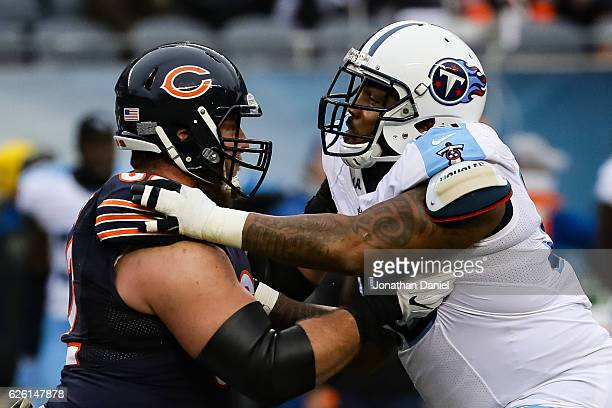 Ted Larsen of the Chicago Bears blocks Jurrell Casey of the Tennessee Titans in the second quarter at Soldier Field on November 27 2016 in Chicago...