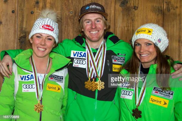 Ted Ligety Julia Mancuso and Mikaela Shiffrin of the USA pose with their World Championship Medals on March 15 2013 in Lenzerheide Switzerland