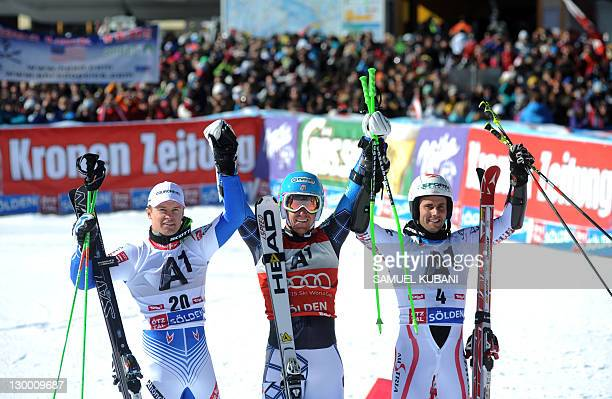 Ted Ligety of the United States celebratesin the finish area after winning the men's giant slalom on October 23, 2011 during the opening World Cup in...