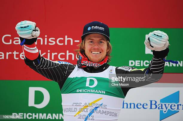 Ted Ligety of the United States of America celebrates at the flower ceremony after winning the Men's Giant Slalom during the Alpine FIS Ski World...