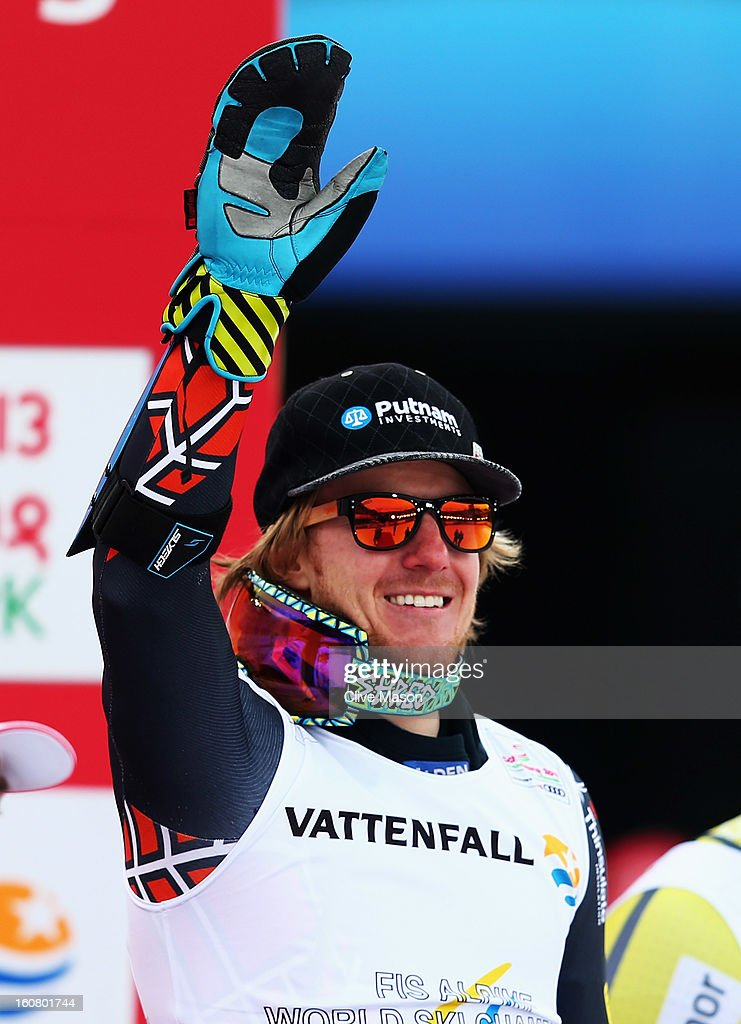 Ted Ligety of the United States of America celebrates at the flower ceremony after winning the Men's Super G event during the Alpine FIS Ski World Championships on February 6, 2013 in Schladming, Austria.