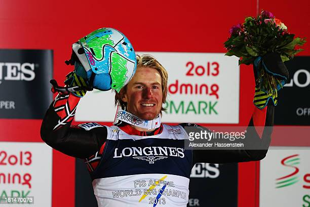 Ted Ligety of the United States of America celebrates at the flower ceremony after winning the Men's Super Combined during the Alpine FIS Ski World...