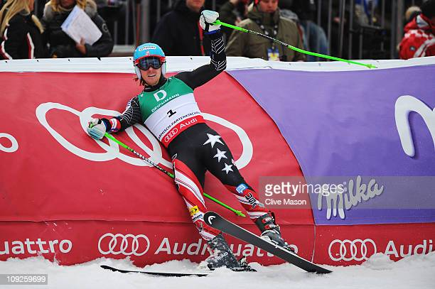 Ted Ligety of the United States of America celebrates in the finish area as he goes on to win the Men's Giant Slalom during the Alpine FIS Ski World...
