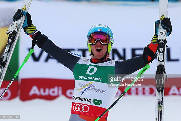 Ted Ligety of the United States of America celebrates in the finish area after winning the Men's Giant Slalom during the Alpine FIS Ski World...