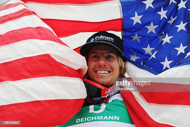 Ted Ligety of the United States of America celebrates winning the Men's Giant Slalom during the Alpine FIS Ski World Championships on the Kandahar...