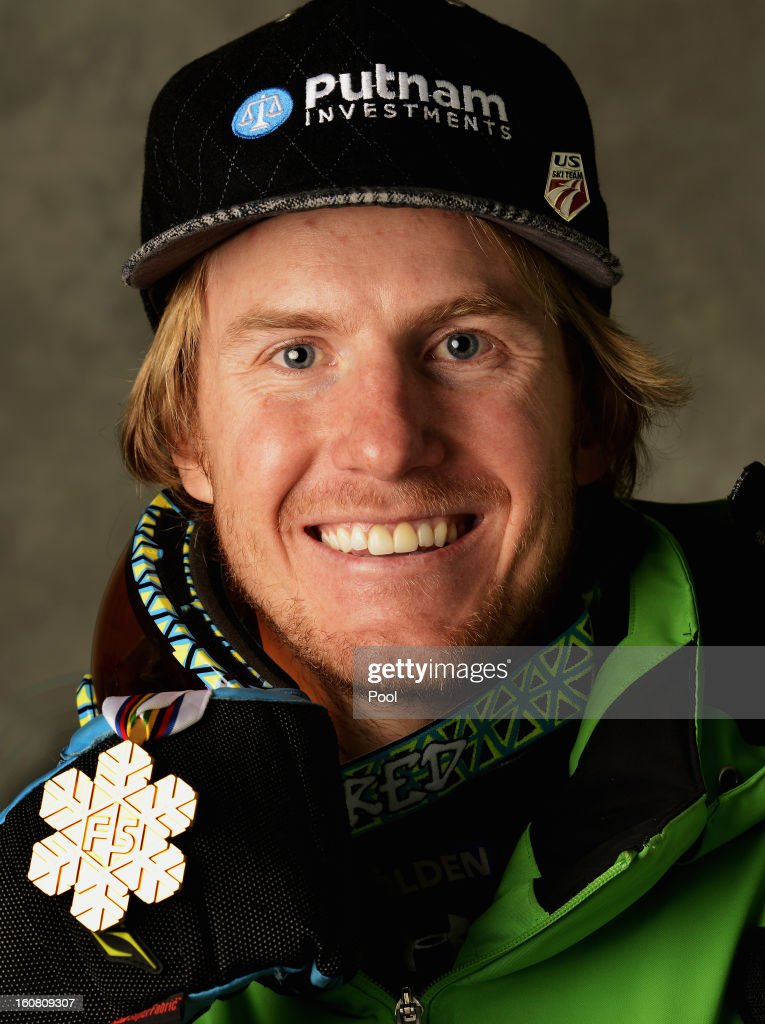 Ted Ligety of the United States of America celebrates with his gold medal after winning the Men's Super G event during the Alpine FIS Ski World Championships on February 6, 2013 in Schladming, Austria.