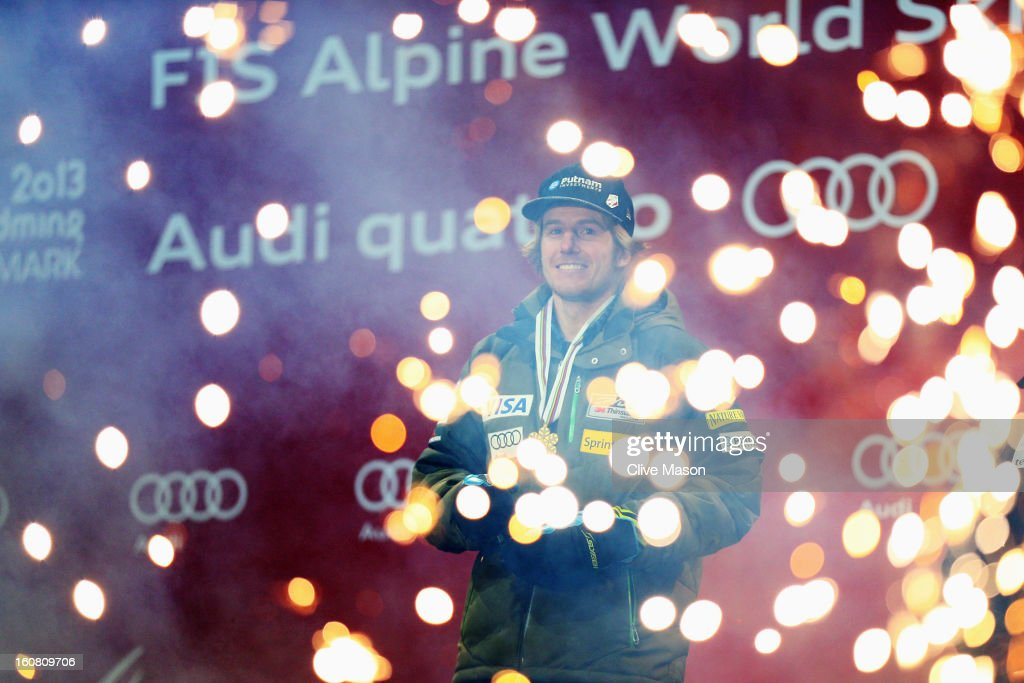 Ted Ligety of the United States of America celebrates with his gold at the medal ceremony after winning the Men's Super G event during the Alpine FIS Ski World Championships on February 6, 2013 in Schladming, Austria.