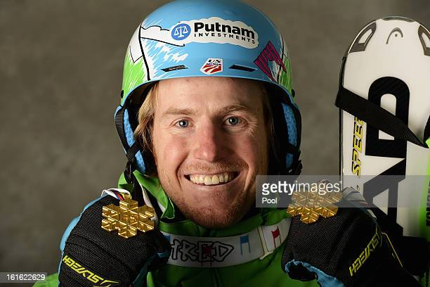 Ted Ligety of the United States of America celebrates with his gold medals for winning the Men's Super Combined and the Men's Super G events during...