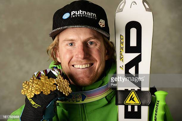Ted Ligety of the United States of America celebrates with his gold medals for winning the Men's Giant Slalom, Men's Super Combined and Men's Super G...