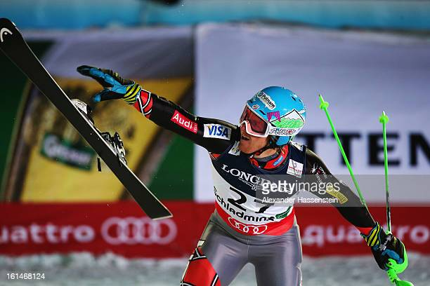 Ted Ligety of the United States of America reacts in the finish area after skiing to victory in the Men's Super Combined during the Alpine FIS Ski...