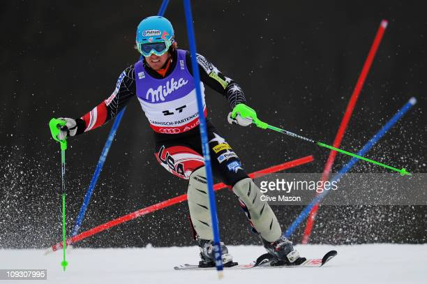 Ted Ligety of the United States of America skis in the Men's Slalom during the Alpine FIS Ski World Championships on the Gudiberg course on February...