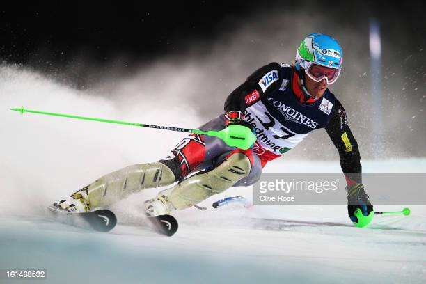 Ted Ligety of the United States of America skis in the slalom section on his way to victory in the Men's Super Combined during the Alpine FIS Ski...