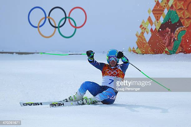 Ted Ligety of the United States reacts during the Alpine Skiing Men's Giant Slalom on day 12 of the Sochi 2014 Winter Olympics at Rosa Khutor Alpine...