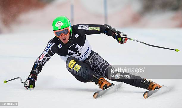 Ted Ligety of the US carves a turn during the FIS World Cup Men's Super G on November 29 2009 in Lake Louise Ligety finished the race in eighth place...