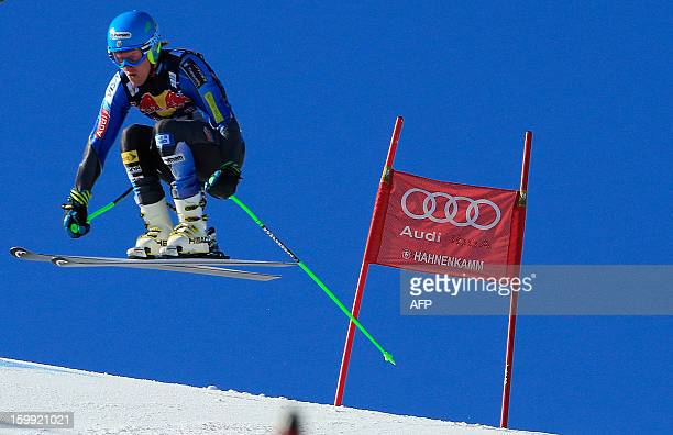 Ted Ligety of the US competes during the men's downhill training session at the 73rd edition of the KitzbuhelHahnenkamm race of the 2013 FIS Ski...