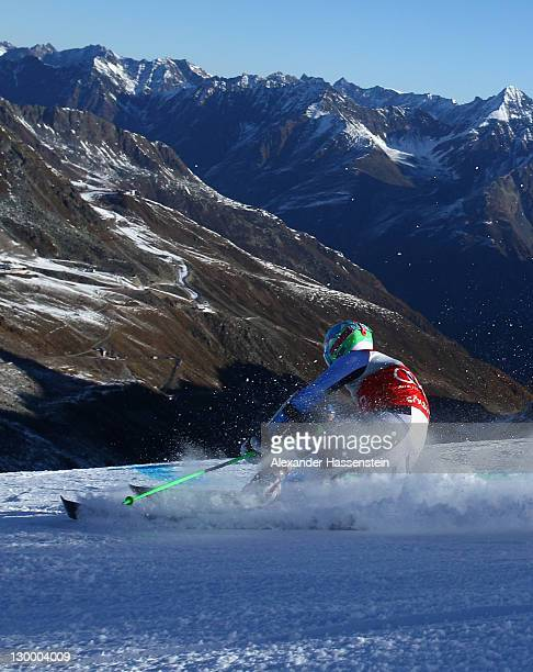 Ted Ligety of the US competes in the Men's Giant Slalom event of the Men's Alpine Skiing FIS World Cup at the Rettenbachgletscher on October 23 2011...