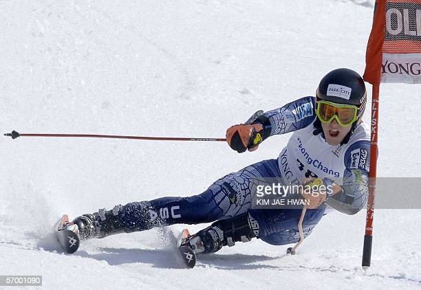 Ted Ligety of the US skis down the course during the men's alpine skiing World Cup giant slalom in Yongpyong some 250 kilometers east of Seoul 05...