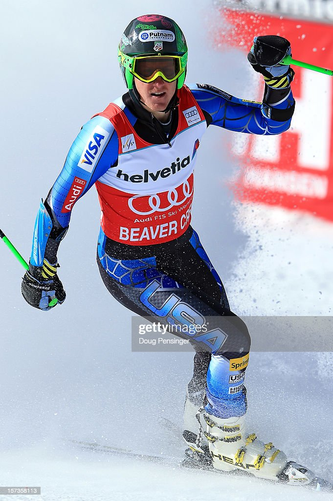 Ted Ligety of the USA celebrates as he wins the men's Giant Slalom at the Audi FIS World Cup on December 2, 2012 in Beaver Creek, Colorado.