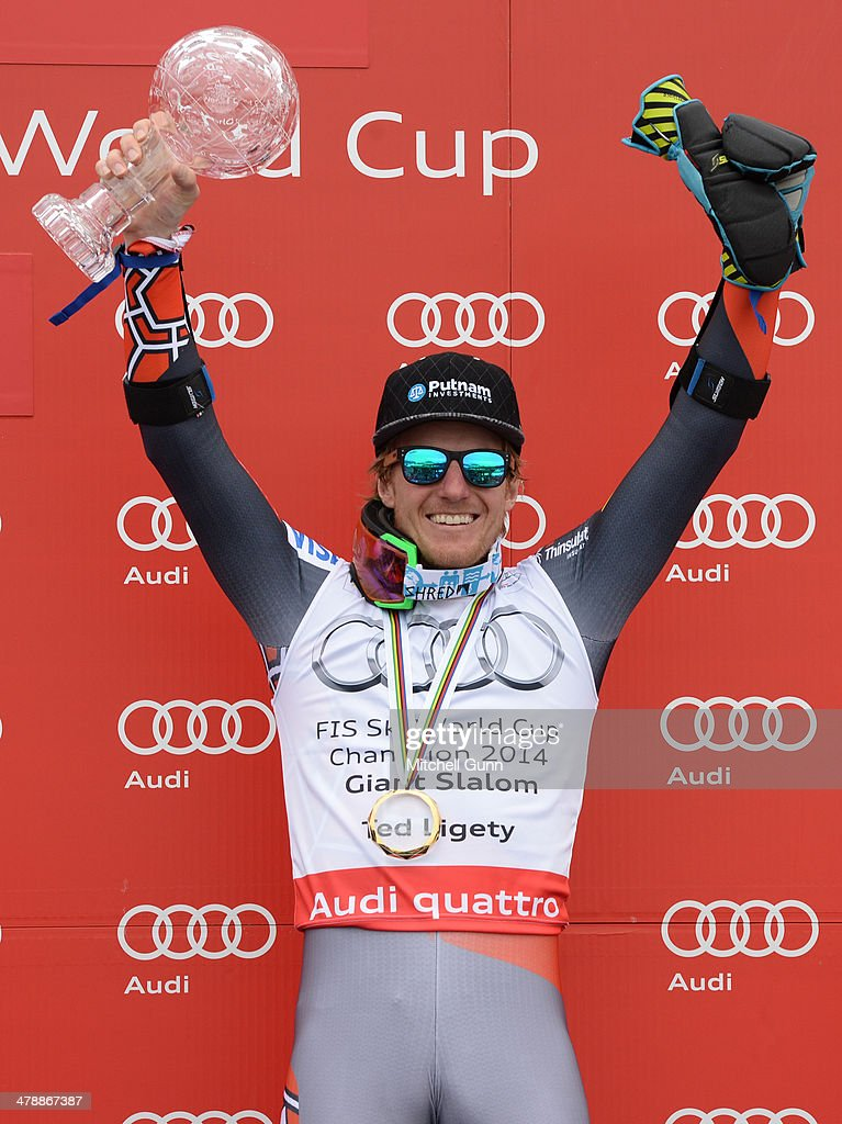 Ted Ligety of The USA poses with the crystal globe for the overall title in the Audi FIS Alpine Skiing World Cup Finals Giant Slalom on March 15, 2014 in Lenzerheide, Switzerland.