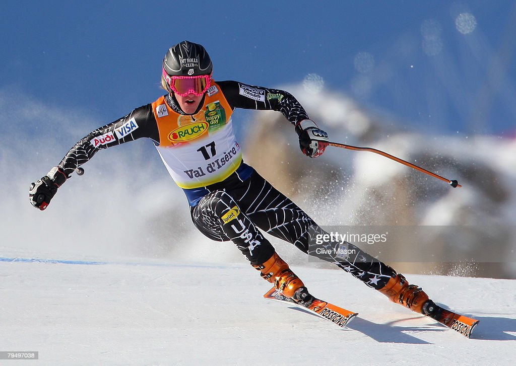 Ted Ligety of the USA skies during the slalom section of the super combined event of the Mens FIS Ski World Cup February 3, 2008 in Val d'Isere, France.