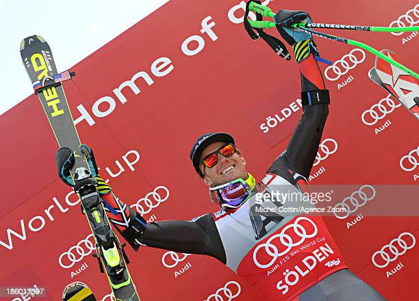 Ted Ligety of the USA takes 1st place during the Audi FIS Alpine Ski World Cup Men's Giant Slalom on October 27 2013 in Soelden Austria
