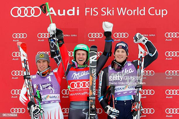 Ted Ligety of the USA takes 1st place Marcel Hirscher of Austria takes 2nd place Kjetil Jansrud of Norway takes 3rd place during the Audi FIS Alpine...
