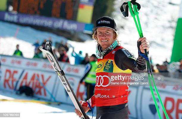 Ted Ligety of the USA takes 3rd place during the Audi FIS Alpine Ski World Cup Men's Giant Slalom on March 5 2011 in Kranjska Gora Slovenia