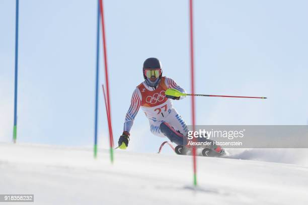 Ted Ligety of USA competes during Men's Alpine Combined Slalom on day four of the PyeongChang 2018 Winter Olympic Games at Jeongseon Alpine Center on...