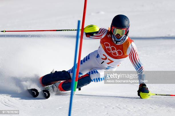 Ted Ligety of USA competes during the Alpine Skiing Men's Combined at Jeongseon Alpine Centre on February 13 2018 in Pyeongchanggun South Korea