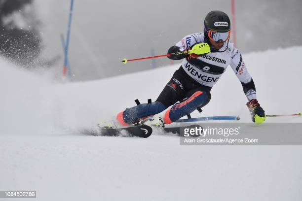 Ted Ligety of USA in action during the Audi FIS Alpine Ski World Cup Men's Alpine Combined on January 18 2019 in Wengen Switzerland