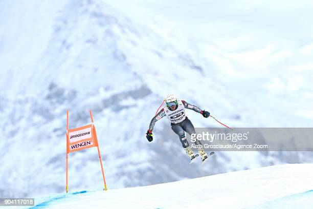 Ted Ligety of USA in action during the Audi FIS Alpine Ski World Cup Men's Combined on January 12 2018 in Wengen Switzerland
