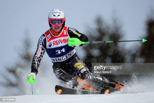 Ted Ligety of USA in action during the FIS Ski World Cup Men's Super Combined Slalom on January 15 2010 in Wengen Switzerland