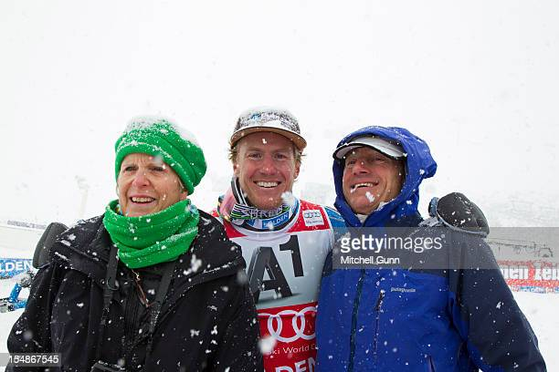 Ted Ligety of USA poses for a photograph wuith his parents after winning the men's Giant Slalom at the Audi FIS Alpine Ski World Cup on October 28...