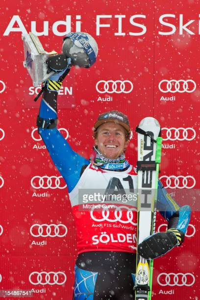 Ted Ligety of USA winner of the race celebrates during the award ceremony for the men's Giant Slalom at the Audi FIS Alpine Ski World Cup on October...